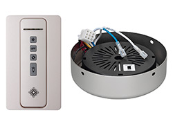 Hand-held remote control transmitter, receiver, holster and BRUSHED PEWTER receiver hub. Fan reverse, speed, and downlight contr