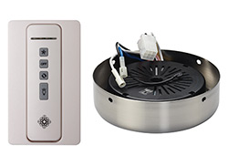 Hand-held remote control transmitter, receiver, holster and BRUSHED STEEL receiver hub. Fan reverse, speed, and downlight contro