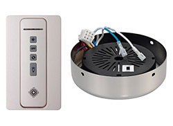 Hand-held remote control transmitter, receiver, and POLISHED NICKEL receiver hub. Fan reverse, speed, and downlight control.