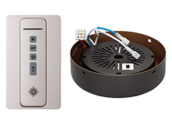 Hand-held remote control transmitter, receiver, holster and ROMAN BRONZE receiver hub. Fan reverse, speed, and downlight control