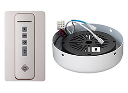 Hand-held remote control transmitter, holster, receiver, and  WHITE receiver hub. Fan reverse, speed, and downlight control.