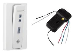 Hand-held remote control transmitter/receiver, with holster. Fan speed and downlight control. (non-reversing)