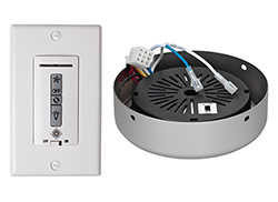 Hardwired wall remote control, receiver, white & almond switch plates. BRUSHED PEWTER receiver hub. Fan reverse, speed, and down