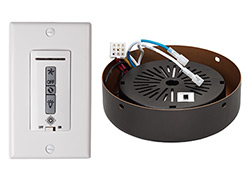Hardwired wall remote control, receiver, white & almond switch plates. ROMAN BRONZE receiver hub. Fan reverse, speed, and downli