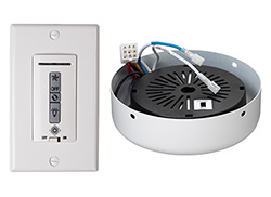 Hardwired wall remote control, receiver,  white & almond switch plates. WHITE receiver hub. Fan reverse, speed, and downlight co