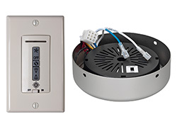 Hard-wired wall remote control, recHardwired wall remote control, eiver, white/almond switch plates. BRUSHED PEWTER receiver hub