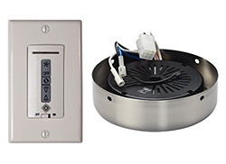 Hardwired wall remote control, receiver, white & almond switch plates.BRUSHED STEEL receiver hub. Fan reverse, speed, and upligh