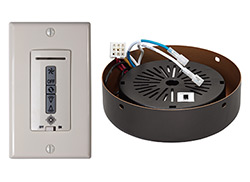 Hardwired wall remote control, receiver, white & almond switch plates. ROMAN BRONZE receiver hub. Fan reverse, speed, and upligh