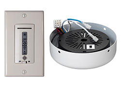 Hardwired wall remote control, receiver, white & almond switch plates. WHITE receiver hub. Fan reverse, speed, and uplight/downl